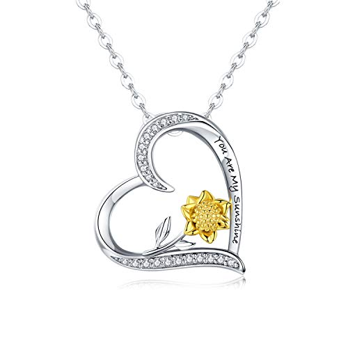 JUSTIKIDSTOY Sterling Silver Sunflower Necklace S925 Heart Pendant CZ Pave 18K Gold Dipped Flowers Necklaces Jewelry Gift for Mom Girls Lover Friends Women (Heart Necklace, White-and-Yellow-Gold)