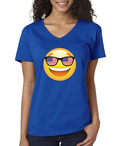 s V-Neck T-Shirt Emoji Smiley Face USA American Flag Sunglasses 4th July 2XL Royal Blue ()