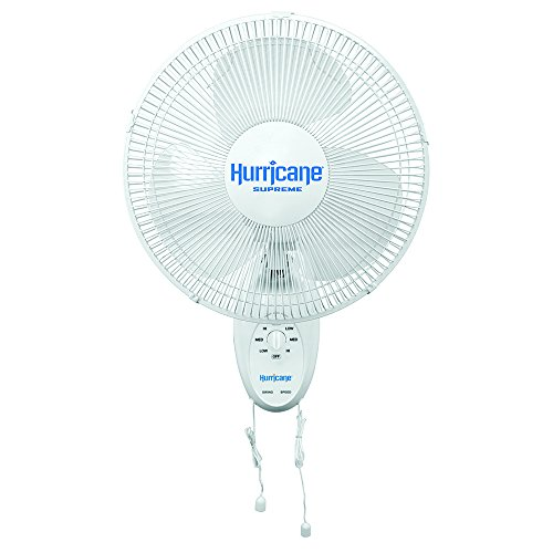 (Hurricane Wall Mount Fan - 12 Inch | Supreme Series | Wall Fan with Side to Side 90 Degree Oscillation, 3 Speed Settings, Adjustable Tilt - ETL Listed, White)