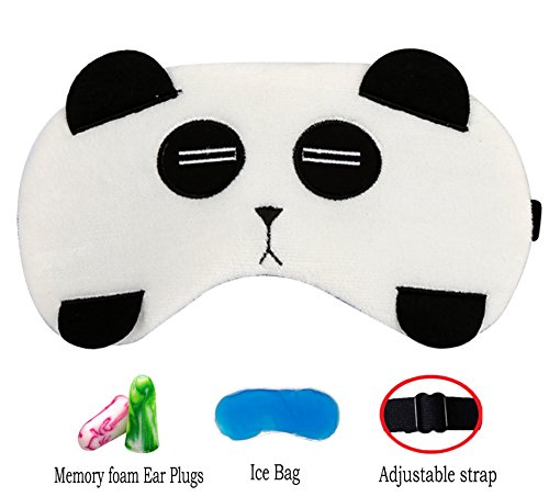 - Cute Animal Sleep Mask by Hitos | Eye Mask with Gel Pad, Super Soft, Light and Comfortable Sleep Mask with Adjustable Strap for Insomnia, Sleep and Shift Work Sleep For Women, Men and Kid (Panda)