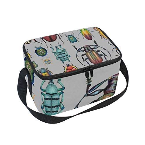 - Lunch Bag Beetle Insect, Large Insulated Bento Cooler Box with Black Shoulder Strap for Men Women Kids, BaLin 10