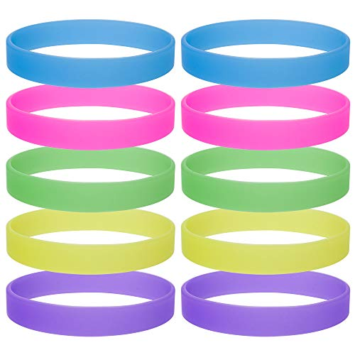GOGO 10 Pcs Glow-in-the-dark Silicone Wristbands, Rubber Bracelets, Party Favors -