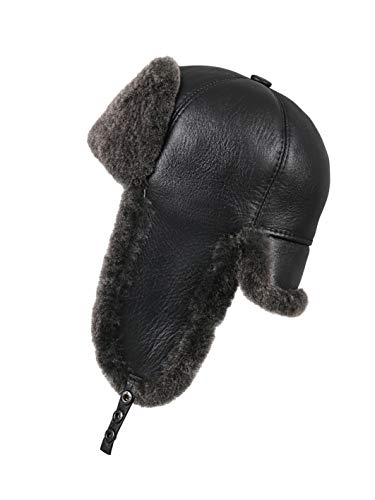 Zavelio Women's Shearling Sheepskin 6 Panel Ushanka Hat Small Black