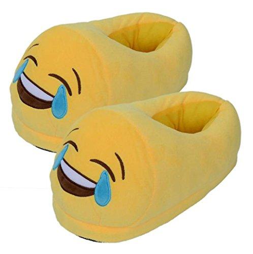 Sannysis® Emoji Emoticon Zapatillas Cómodo Suela Térmica Vellocino Invierno (A) I