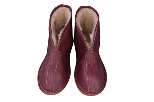 WOJCIAK Natleat Slippers Womens Mens Unisex Natural Leather Sheepskin Slipper Boots, Damen Stiefel & Stiefeletten Braun Braun, Braun - Burgundy/Leather - Größe: 39