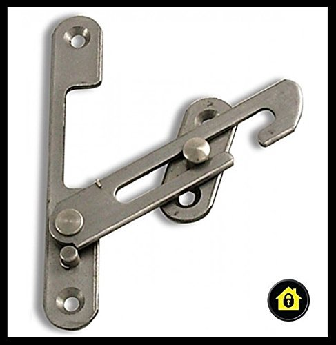 HomeSecure HS4318 UPVC Window Restrictor Hook with Child Lock Restrictor Safety Catch - Silver by HomeSecure