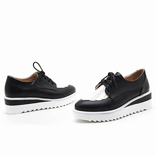 Carolbar Mujeres Lace-up Moda Colores Surtidos Casual Oxfords Zapatos Negro