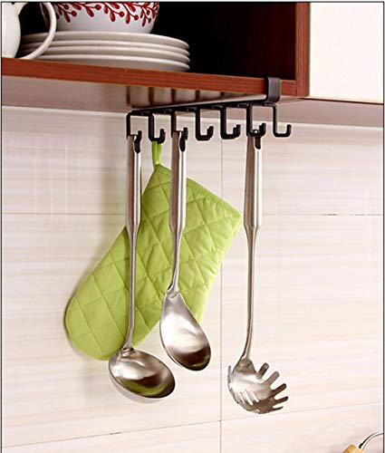 (Multifunction Nail Free 12 Hooks Mug Holder Under Cabinet Coffee Cup Hanger for Kitchen, Armoire and Any Thickness of 0.8 inch or Less Shelves (Brown))