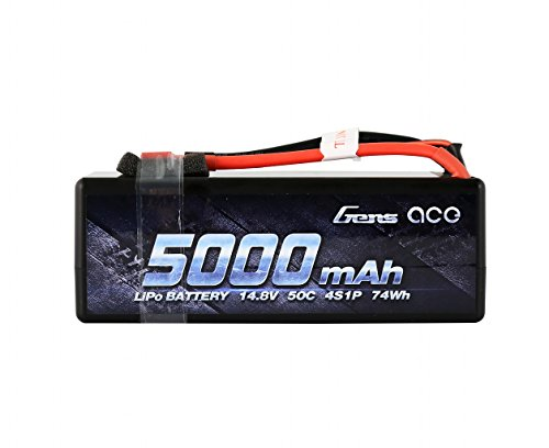 Gens ace 14.8V 4S 50C 5000mAh LiPo Battery Pack HardCase with Deans T Plug for 1 8 Scale Electric RC Buggy Truggy Crawler Monster Off-Road Car Boat Truck Roar Approved Slash 4X4 Traxxas Bandit Emaxx