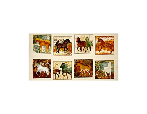 Quilting Treasures Unbridled Horse Picture Patches 24in Panel Cream Fabric ()