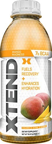 XTEND On The Go, Branched Chain Amino Acids, Bcaas, Zero Sugar Hydration Muscle Recovery Drink with Electrolytes, Mango Madness, 16.9 Oz Bottles Pack of 12
