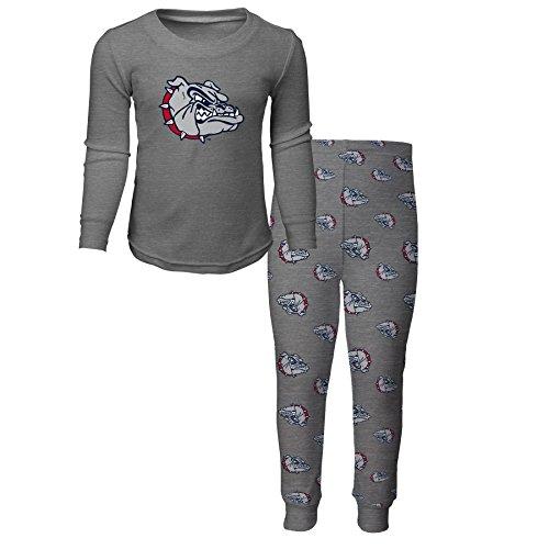 (NCAA by Outerstuff NCAA Gonzaga Bulldogs Kids Long Sleeve Tee & Pant Sleep Set, Heather Grey, Kids Small(4))
