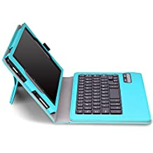 Fire HD 8 2015 Keyboard Case - MoKo Wireless Bluetooth Keyboard Cover with Auto Wake / Sleep for Amazon Kindle Fire HD 8 Inch Display Tablet (2015 Release Only), Light BLUE