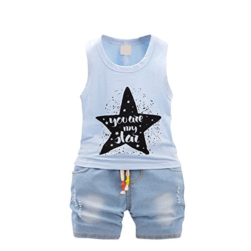BAOBAOLAI Baby Boys You Are My Star Sleeveless Tops With Jeans Shorts Outfits Set For - My Usps.com Track Package