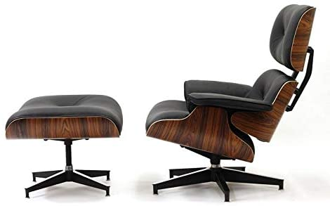 Plywood Lounge Chair and Ottoman Genuine Top Grain Italian Leather Black Leather/Palisander