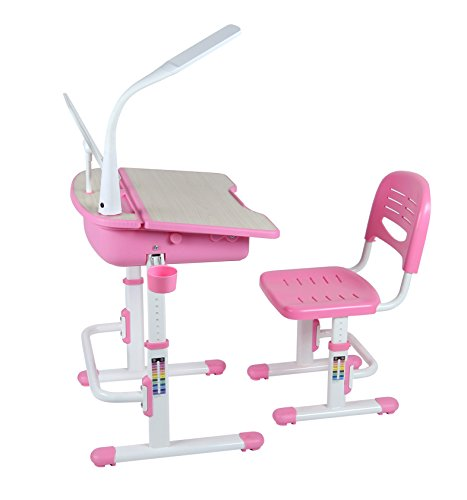 Leomark Ergonomisch Kinderschreibtisch SMART schreibtisch und Stuhl höhenverstellbar Farbe Pink mit Schublade