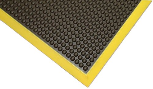 Rhino Mats GS36X15BY Grand Stand Anti-Fatigue Mat, Polyurethane, 3' x 15' x 3/4'', Black with Yellow Borders by Rhino Mats