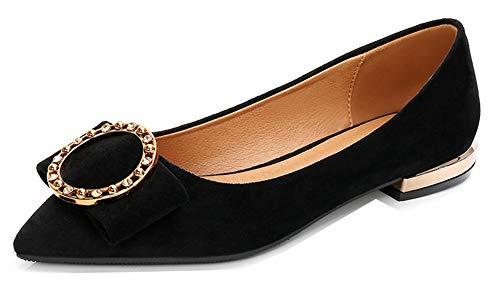 Aisun Femme Agréable Pointue Bouche Fille Métal Ballerines Noir Banquet rrA5dxq