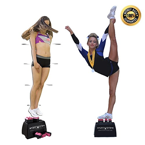 STUNT STAND Cheerleading Balance & Flexibility Stunt Training Equipment - Increase Stunt Awareness SAFELY on the Ground - FREE Training Video Links Included - Black w/ Pink price