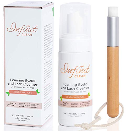 Infinit Clean Foaming Eyelid and Lash Cleanser – Sensitive Eyelash Extension Cleanser Paraben & Sulfate Free – Removes Oil & Protein From The Natural Lash – Improves Retention of Semi Permanent Lashes