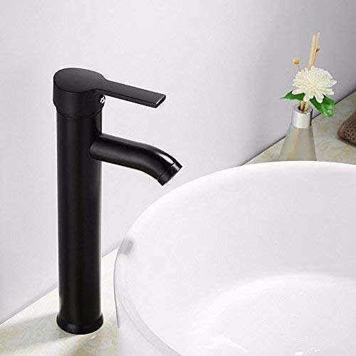(Jingjingnet Basin Mixer Tap Bathroom Sink Faucet hot and cold basin faucet bathroom console sink paint a water faucet stainless steel matt taps (Color : High))
