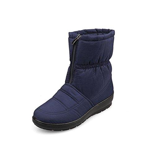 Prueba Más Cachemira Confort Antideslizante Snow Al Fondo A Zapatos Algodón Impermeable Blue Invierno Calzado Señoras Aire Grueso De Otoño Tela Boots Nieve Nuevo Libre Trabajo Pfn8q