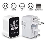 Travel Adapter, LKY DIGITAL Worldwide All in One Universal AC Plug Adapter Power Converter International Wall Charger with Dual USB Charging Ports for US EU UK AUS Europe Cell Phone (White & Black)