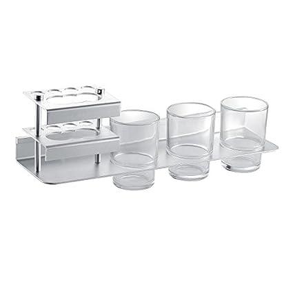Tres taza taza Cepillo montado en pared en rack espacio para baño portavasos de aluminio