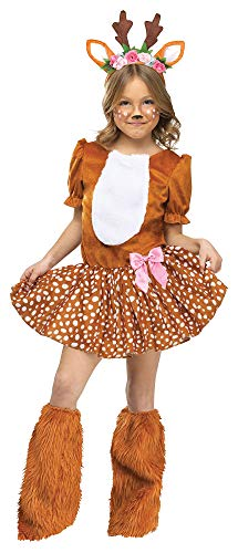 Child Girls Oh Deer Motif Dress With Attached Tail Headband Halloween Costume]()