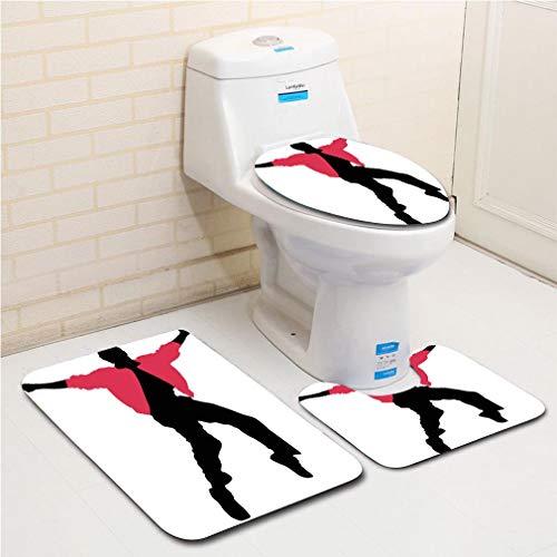- Family bathroom set of 3, bathroom rug + contour pad + lid toilet seat Elvis Presley Decor,American Artist King Icon Blues Performer Singer Silhouette,Dark Coral Black White flannel carpet