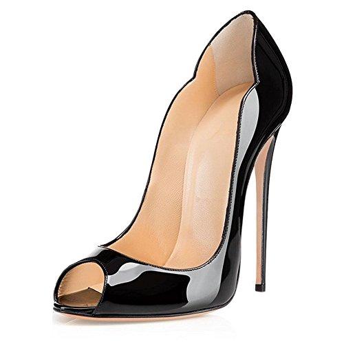 (Sammitop Women's Peep Toe High Heel Pumps Slip On Cut Out Court Shoes Party Dress Shoe Black US9)