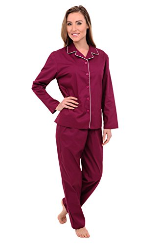 Alexander Del Rossa Woven Cotton Solid and Novelty Long Sleeved Pajama Set, 100% Cotton Pjs