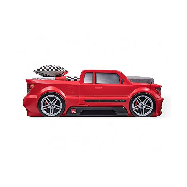 Step2 Turbocharged Twin Truck Kids Bed, Red 5