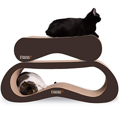 Friends Forever Jumbo 2 in 1 Large Premium Cat Scratcher Lounge, Colossal, Corrugated Ergonomic Cardboard Lounge Scratch Post Angled (Walnut Brown)