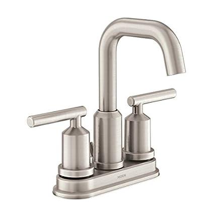 Moen WS84228SRN Two Handle High Arc Bathroom Faucet, Spot Resist Brushed  Nickel