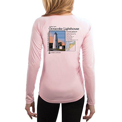 Guiding Lights Ocracoke Light Women's UPF 50+ Long Sleeve T-Shirt XX-Large Pink - Blossom Light T-shirt Womens