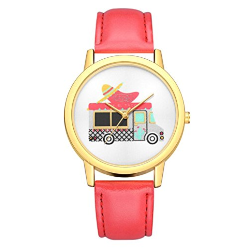BEUU 2018 Car Cute Leather Strap Watch New Wholesale Price Luxury Fashion Band Analog Quartz Round Wrist Watches Wristwatches Classics Gifts Stainless Strap Vintage (C)