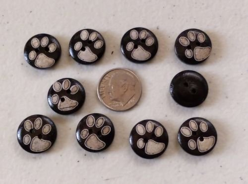 (Buttons Lot of 10 PAW Print 2-Hole Brown Wood Buttons 5/8'', (15mm) Scrapbook Doll (1005))