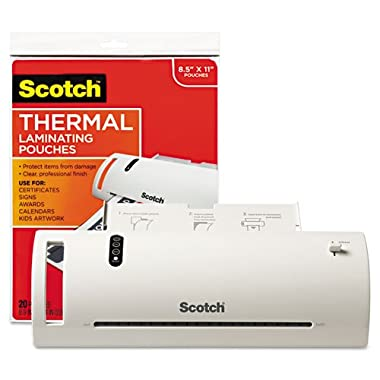 Scotch Thermal Laminator Combo Pack, Includes 20 Letter-Size Laminating Pouches, Holds Sheets up to 8.5  x 11(TL902VP)