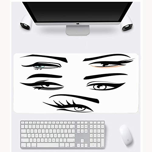JAMRON Mousepad Oblong 11.8x35.4 Inches Extension Eyebrow Four Eye Shape Eyeliner Makeup Eyeshadow Shaping Abstract Design Waxing Non-Slip Rubber Mouse Pad Laptop Notebook