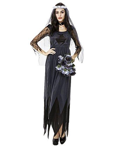 Guzesion Womens Goth Maiden Witch Costume (M,