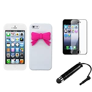 Bloutina eForCity Cute White/Pink Bow Soft Rubber Silicone Skin Case + LCD Cover + Mini Stylus compatible with iPhone...
