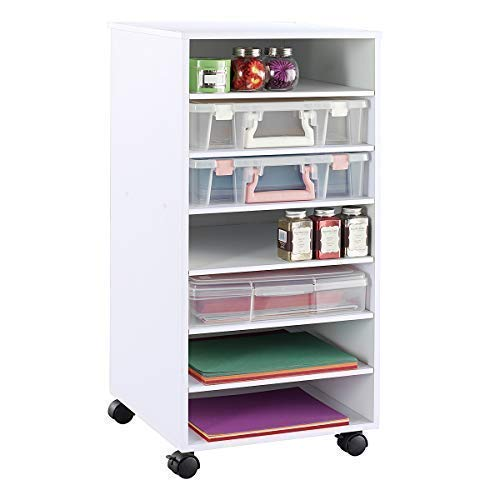 Ashland White Mobile Craft Storage and Organization Tower with Shelves