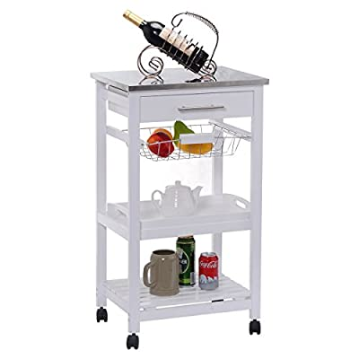 Rolling Kitchen Trolley Cart Steel Top Removable Tray W/Storage Basket &Drawers