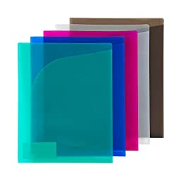 COMIX 2 Pocket A4 US Letter Size File Document Folder Organizer Translucent 10 Pack Assorted Colors, Red / Yellow / Blue / Green / Purple / Clear