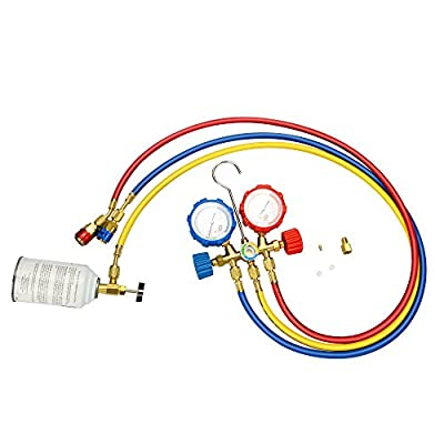 Mofeez Pro AC A/C Diagnostic Manifold Freon Gauge Set For R134A R12 R22 Refrigerants, with Couplers | ACME Adapter | Instructions: Automotive