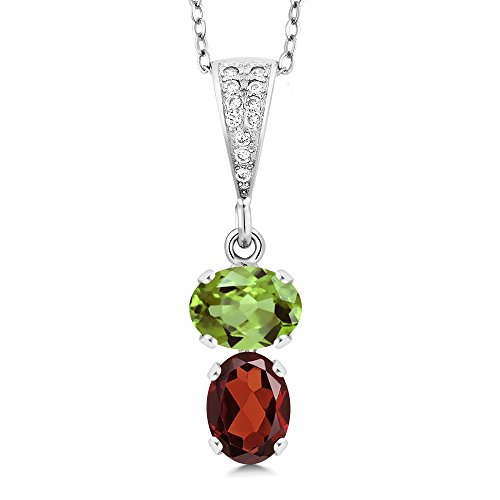 (Gem Stone King 2.60 Ct Oval Green Peridot Red Garnet 925 Sterling Silver Pendant )