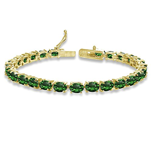 Yellow Gold Flashed Sterling Silver 6X4mm Simulated Emerald Oval-cut Tennis Bracelet
