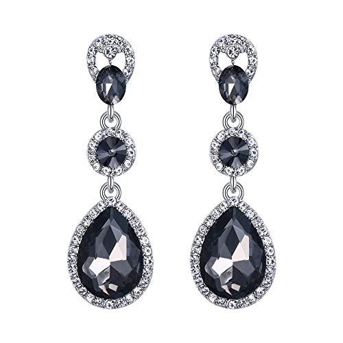 EVER FAITH Women's Oval Crystal Elegant Teardrop Wedding Pierced Dangle Earrings Grey Silver-Tone
