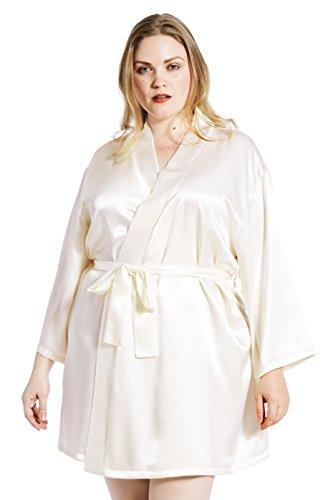 Jovannie Satin Robe Plus Size 3/4 Sleeve with Matching Sash Short Length (Ivory, 4X) ()